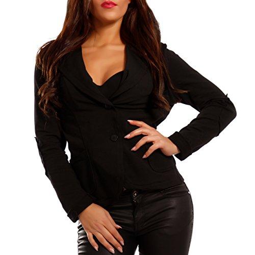 Damen Blazer Baumwolle Vintage Sweatblazer Kurzjacke, Farbe:Schwarz;Größe:42