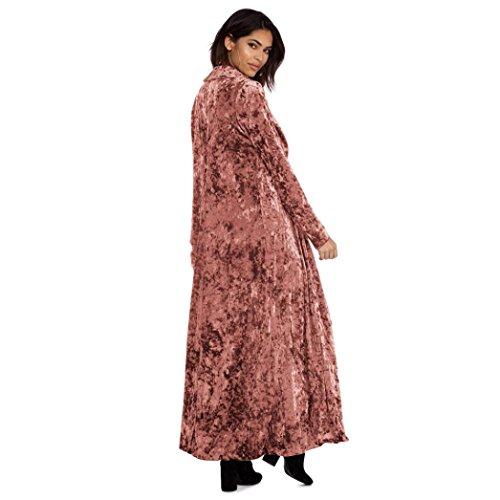 Clode Frauen Langarmshirts Strickjacke Pullover Parka Oberbekleidung Mantel (M, Rosa)