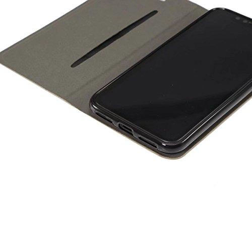 EKINHUI Case Cover Mischfarben Jeans Stoff Textur PU Ledertasche Soft TPU Zurück mit Kickstand und Card Slot für iPhone X ( Color : Darkbrown ) Darkblue