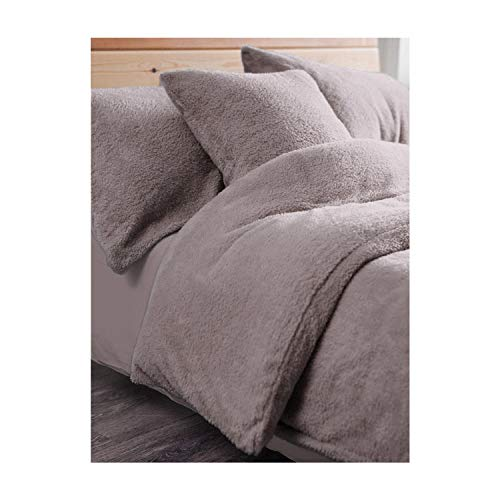 Bettwäsche-Set aus Fleece, Teddybär, für Einzelbett, Doppelbett, King-Size, Super-King-Size-Bett, luxuriös, Designer-Bettwäsche mit Kissenbezügen Duvet Set Double Teddy Charcoal (Designer King-betten)