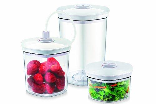 Image of CASO Behälter-Set für Vakuumierer, 3 Vakuumbehälter für druckempfindliche und flüssige Lebensmittel, passend für alle CASO Vakuumierer