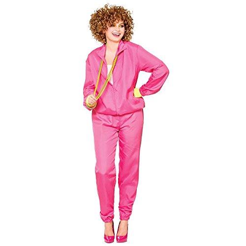 Pink Ladies Shell Suit 1980s Fancy Dress Adults 80's Womens Tracksuit Costume (Medium UK 14 - 16 (European (Plus Size Fancy 80s Dress)