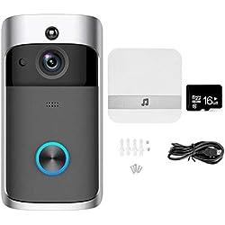 Sonnette de porte vidéo sans fil NANTING-Vidéo HD 720p,conversation bidirectionnelle,Détecteur de mouvements Infrarouge à vision nocturne,wifi,Contrôle possible par smartphone(Noir)