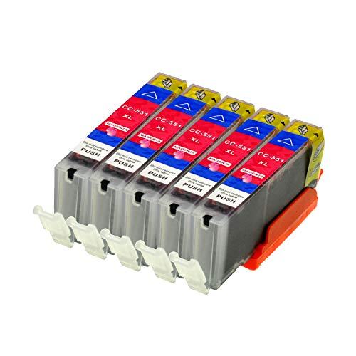 5 Druckerpatronen für Canon CLI-551M XL IP-7250 8750 IX-6850 MG-5450 5550 6350 6450 7150 MX-725 925, Magenta