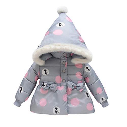 Deloito Kinder Winter Kleidung Mädchen Langarm Mäntel Dicke Plüsch Jacke Herbst Baby Cartoon Ohren Hoodie Samt Baumwolle Outerwear (Grau,Large) (Baby Im Carrier Kostüm)