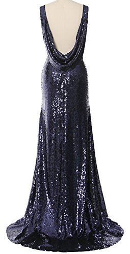 MACloth Elegant Cowl Back Long Bridesmaid Dress Sequin Simple Prom Gown Light Gold
