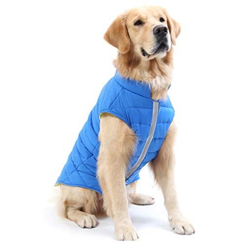 TFENG Impermeabile per Cani Cappotti Imbottiti per Cani Reversibile con guinzaglio 2 Colori S-3XL