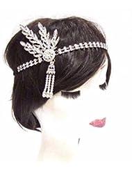 starcrpssed Boutique Silber Weiß 1920er Kopfbedeckung Vintage Great Gatsby Daisy Haarband 2854