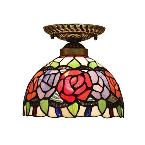 Luz de techo estilo Tiffany, 8 pulgadas, lámpara de techo retro, rosa/vitrocerámica...