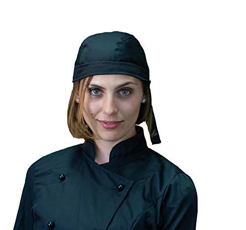Tessile astorino bandana copricapo cuffia, unisex, nera, per cuoco, chef, cameriere, pizzaiolo, cucina e ristorazione, made in italy