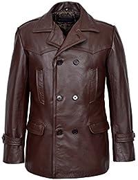 Men's KRIEGSMARINE DR WHO Brown German WW2 UBoat Reefer Genuine Hide Leather Jacket Coat