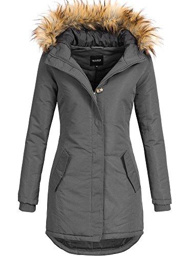 DESIRES Damen Envy Parka Lange Jacke Designer Winter-Mantel mit Kapuze aus hochwertigem Material 2890 Dark Grey S