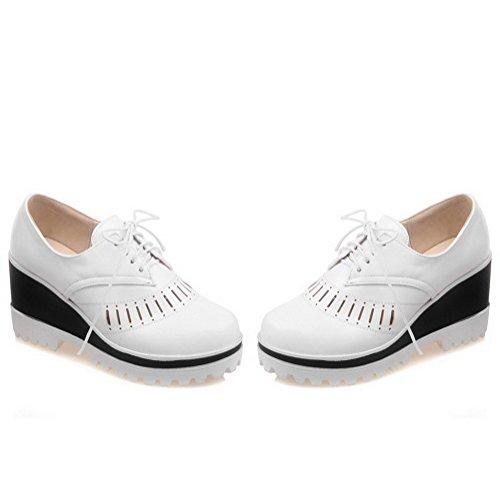 AllhqFashion Femme Rond Matière Souple Couleur Unie Lacet Chaussures Légeres Blanc