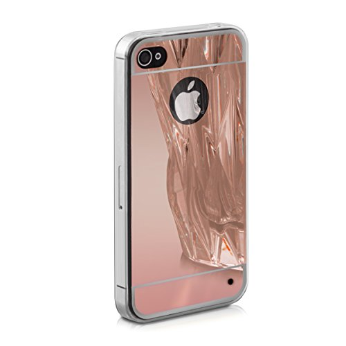 kwmobile Hülle für Apple iPhone 4 / 4S - TPU Silikon Backcover Case Handy Schutzhülle - Cover Schwarz .Rosegold spiegelnd