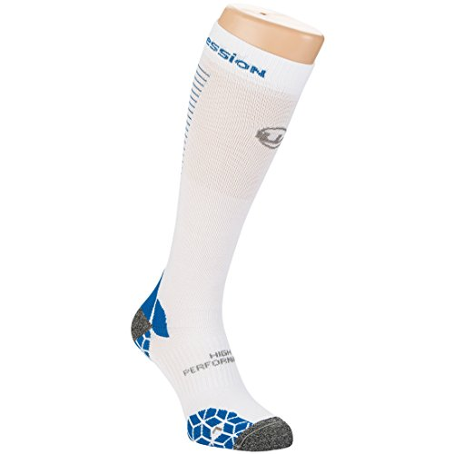 Ultrasport Socken Kompression, Weiß/Blau, 39-42, 1351-100/160-39/42