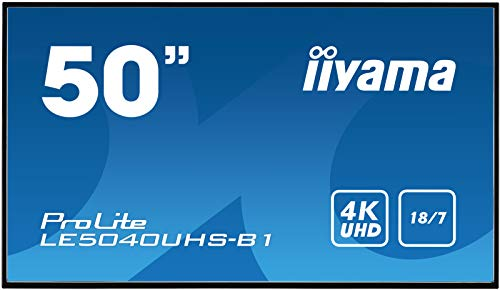 iiyama ProLite LE5040UHS-B1 127cm (50 Zoll) Digital Signage Display AMVA3 LED Panel 4K UHD Ultra Slim (VGA, DVI, HDMI x2, USB, RS232, RJ45 LAN, IR) schwarz