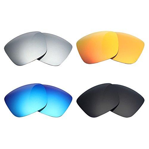 MRY 4Paar Polarisierte Ersatzgläser für Spy Optic Balboa sunglasses-stealth schwarz/fire rot/ice blau/silber titan