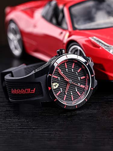 Orologio da uomo analogico al quarzo cinturino in silicone rosso, scuderia ferrari 0830245