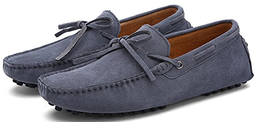 ZEROLING Herren Quaste Lederne Schuhe Suede Loafers Grau