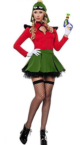 shoperama Damen-Kostüm Space Fighter Marvin der Marsmensch Gr. (Marvin Kostüm)