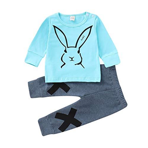 Yazidan Neugeborenes Baby- Jungen Mädchen -Karikatur Kaninchen Sweatshirt T-Shirt übersteigt Hosen eingestellten Kapuzenpulli Hosen Trainingsanzug Langarmshirt Outfits Set Kleidung