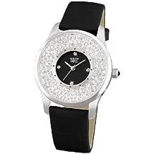 Davis 1780 - Reloj Señora Elegante Cristal Strass, Esfera Negra, Correa de Piel Negra