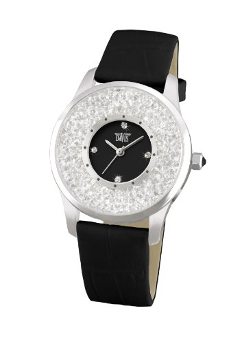Davis Fashion Ladies Black Elegant Watch with Swarovski crystal