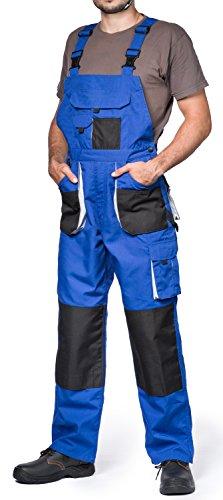 Herren Latzhose mit Kniepolstertaschen, Größen XS-3XL, Blau, Qualität
