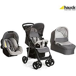 Hauck Shopper SLX Trio Set - Coche de bebes 3 piezas de capazo, sillita y Grupo 0+ para recién nacidos hasta bebes/niños de 15 kg, cesta grande para la compra, botellero, plegable, negro y gris