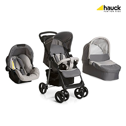 Hauck shopper slx trio set carrozzina 3 in 1, incluso seggiolino gruppo 0, passeggino sportivo, presa bibite, leggero, piegatura compatta, dalla nascita, stone grey (grigio)