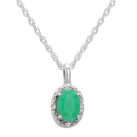 Or blanc 14K Émeraude ovale et diamants Pendentif (1/2ct tw.