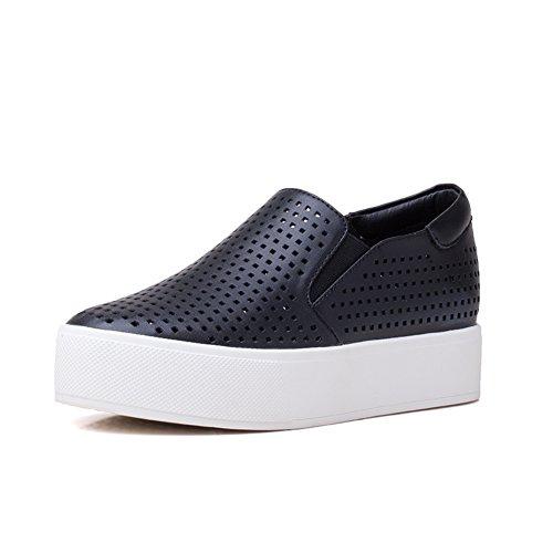 La versione coreana di Le Fu/Scarpe piatte/ con la suola spessa piattaforma scarpe/Scarpine bianche-B Lunghezza (Grigio Suede Piattaforma)