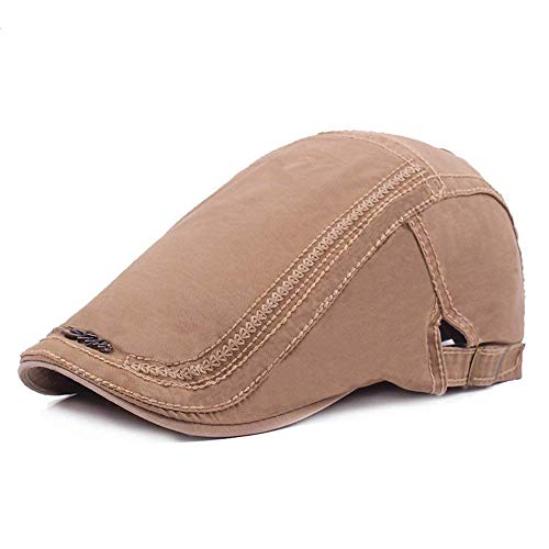 c8ceb4659b6 Men s Cotton Plaid Flat Cap Ivy Gatsby Newsboy Hunting Hat (Khaki)