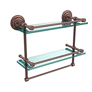 Allied Brass QN-2TB/16-GAL-CA 16-Inch Gallery Double Glass Shelf with Towel Bar, Antique Copper