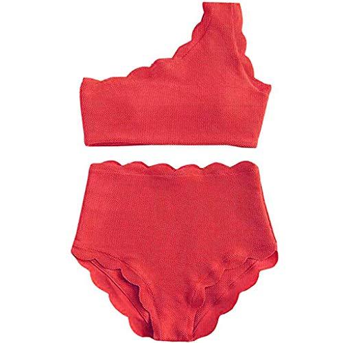 Cooljun Frauen Badeanzüge Tank Top Badeanzüge Lady Vintage hoch taillierte Badeanzug zwei Stücke überbackene Trim One Shoulder Bikini