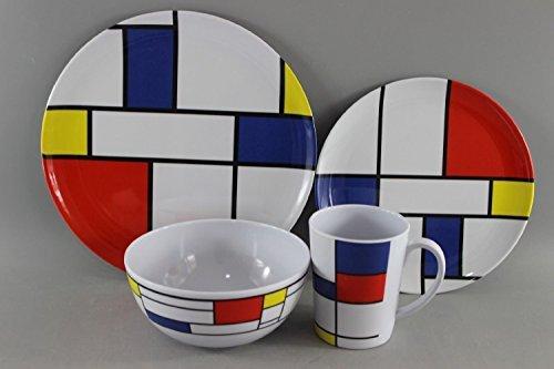 Leisurewize LWACC379 Melamine 16 Pcs Dinner Set – Plates, Bowls, Mugs, Side Plates – De Stijl, Artist Design, Heat…