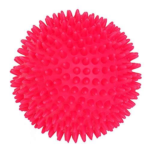 Chakil Heimtierbedarf Spielzeug stacheligen Ball - Vokalspielzeug Welpen beißen langlebig Zahnreinigung Massage Spielzeug interaktives Training 9,5 cm (blau + rot + orange + pink) -