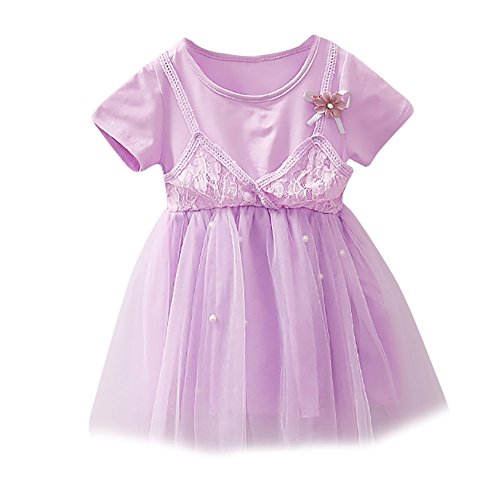 JUTOO Kinder Kinder Mädchen Floral Pearl Lace Strap Net Casual Princess Dress Clothes ()