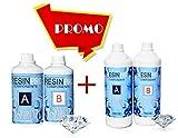 Resin Pro 2.4 KG RESINE EPOXY Transparente - Effet Eau de créations artistiques et de Bijoux, de réparation ou de revêtements de Surface
