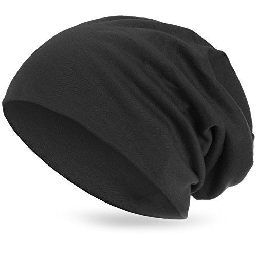 style3 Warme Übergangs Slouch Beanie XXL aus atmungsaktivem, feinem und wärmendem Jersey Unisex Herbst Winter-mütze, Farbe:Anthrazit