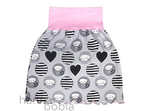 Mädchenrock aus Jersey mit Katzen im Kreis auf grau mit rosafarbenem Bündchen, Größe 98/104, 95% Baumwolle, 5% Elasthan -