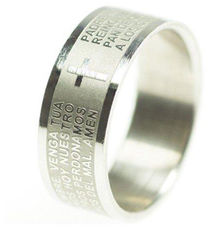 Unbekannt Edelstahl Ring mit Bibel Gebet und Jesus Kreuz (Silber, 20)