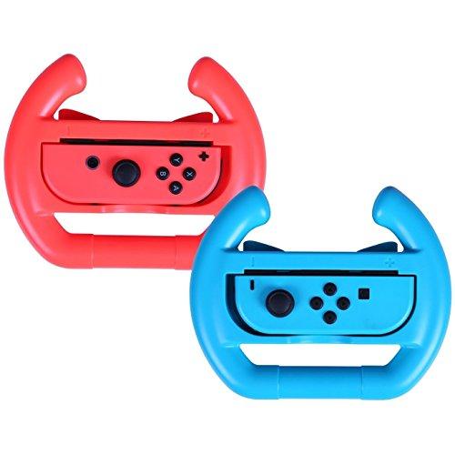 2 x Rojo y Azul Controller Steering Racing Ruedas para Nintendo Switch Joy-Con 41xywNj5qTL