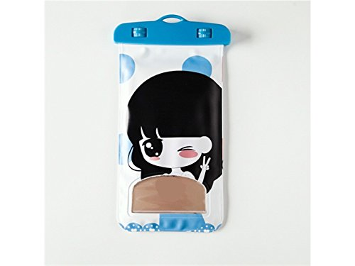 Cartoon Mädchen Muster hängenden Hals Frau wasserdichte Handytasche für Universal-Telefon bis zu 6 Zoll (blau)