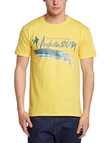 Football Fan Herren T-Shirt World Cup Football 2014 Australia Brush Mens T-shirt Gelb - Gelb