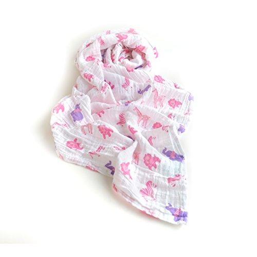 Baumwolle Musselin Swaddle Wrap Decke, Unisex Große 120 x 120 cm (47 x 47 ''), Spucktücher, Swaddle Wraps, Babydecke, Kinderwagen Abdeckung, Perfekte Baby Dusche Geschenk(Rosa Zebra) (Rosa Und Zebra-baby-dusche)