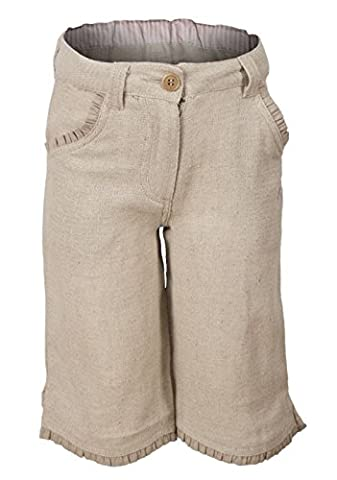 Earth Collection Girls Linen Blend Crop Trousers Sand 4 Years