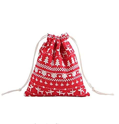 Tb_koop Sac Cadeau Noël Sachet Pochette Sac à Cordon en Tissu Coton Lin Rangement Réutilisable Différentes Tailles pour Bonbons Cadeaux Bijoux Fête d'anniversaire Noël