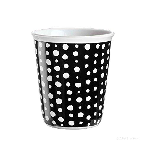 ASA Selection Coppetta Becher Espresso, Kaffeetasse, Tasse, Keramik, White Spots, Schwarz / Weiß,...