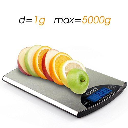 iDOO Bilancia Digitale per Cucina e Corrispondenza in Acciaio Inossidabile (Colore Argento)
